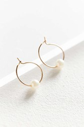 Urban Outfitters Pearl Stone Hoop Earring White