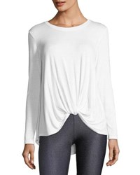 Terez Crewneck Twist Front Long Sleeve Tee White