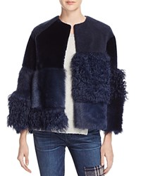 Whistles Patchwork Fur And Shearling Coat 100 Bloomingdale's Exclusive Navy