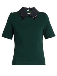 Muveil Embellished Collar Short Sleeved Top Dark Green