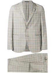Caruso Checked Formal Suit Neutrals