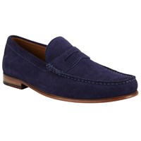 John Lewis Lloyd Suede Penny Loafers Deep Blue