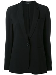 Theory One Button Blazer Women Polyester Acetate Viscose 2 Black