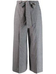 Each X Other Pinstriped Belted Culottes Grey