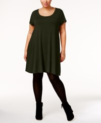 Style And Co Co. Plus Size Short Sleeve Swing Dress Only At Macy's Evening Olive