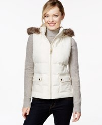 Charter Club Hooded Quilted Vest Faux Fur Trim Only At Macy's Vintage Cream