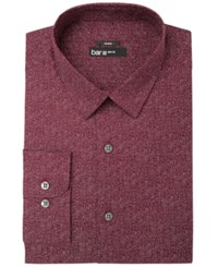 Bar Iii Men's Slim Fit Stretch Easy Care Print Dress Shirt Created For Macy's Wine