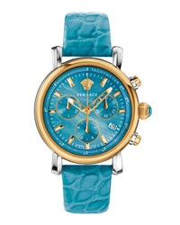 Versace Day Glam Chronograph Watch W Leather Strap Golden Turquoise