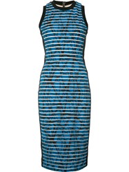 Nicole Miller Striped Fitted Dress Blue
