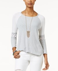 American Rag Lace Inset Baseball T Shirt Only At Macy's Heather Grey