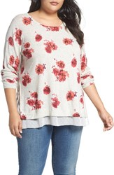 Lucky Brand Plus Size Women's Layer Look Floral Print Pullover