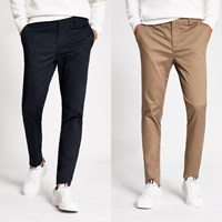 River Island Navy Skinny Chino Trousers 2 Pack