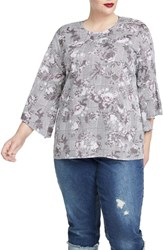 Rachel Roy Plus Size Bell Sleeve Print Top Grey Combo