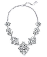 Charter Club Silver Tone Crystal Cluster Statement Necklace 17 2 Extender Rhod Cry