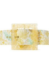 Cult Gaia Simone Oversized Printed Linen And Marbled Acrylic Belt Yellow