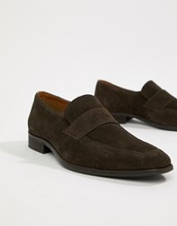 Zign Penny Loafers In Brown Suede