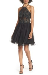 Blondie Nites Halter Neck Applique Mesh Party Dress Black