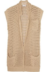 Brunello Cucinelli Open Knit Cotton Blend Cardigan Sand