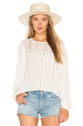 Amuse Society Sunset Rose Woven Top Ivory