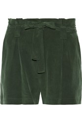 L'agence Alex Washed Silk Crepe Shorts Army Green