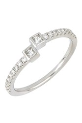 Bony Levy 18K White Gold Princess Cut Diamond Cuff Ring 0.28 Ctw