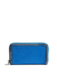 Stella Mccartney Falabella Zip Around Faux Suede Wallet Blue