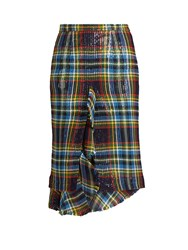 Marco De Vincenzo Ruffled Tartan Skirt Multi