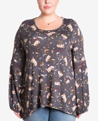 Eyeshadow Trendy Plus Size Floral Print Peasant Top Multi