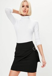 Missguided Black Wrap Front Circle Ring Detail Mini Skirt