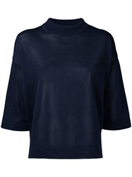 En Route Three Quarter Sleeve Knitted Top Women Paper One Size Blue