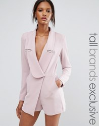 Lavish Alice Tall Wrap Front Tailored Playsuit With Metal Detail Mauve Purple