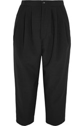Comme Des Garcons Cropped Pleated Wool Tapered Pants Black