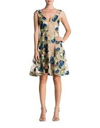 Dress The Population Maya Floral Lace Fit And Flare Nude Navy