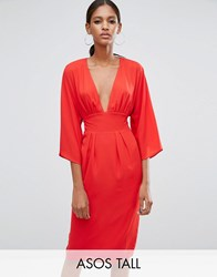 Asos Tall 70S Deep Plunge Belted Midi Dress Red