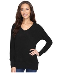 Allen Allen Long Sleeve Sweater Vee Black Women's Sweater