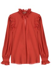 Giambattista Valli Silk Blouse Red