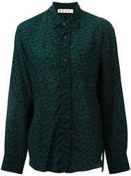 Marni Chevron Polka Dot Print Shirt Green
