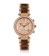 Michael Kors Parker 39Mm Tortoiseshell Chronograph Glitz Watch Female