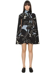 Valentino Panther Printed Silk Cady Cape Dress