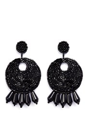 Kenneth Jay Lane Beaded Gypsy Hoop Clip Earrings Black