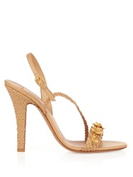 Valentino Garden Party Embellished Leather Sandals Nude Multi