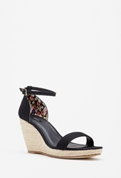 Forever 21 Canvas Espadrille Wedges Black