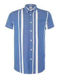 Wrangler Men's Stripe Short Sleeve Shirt Blue