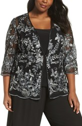 Alex Evenings Plus Size Floral Embroidered Twinset Black Grey