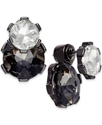 Bar Iii Hematite Tone Black And Clear Crystal Ear Jacket Earrings Only At Macy's