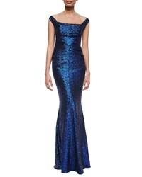 Talbot Runhof Foin Off The Shoulder Sequined Mermaid Gown