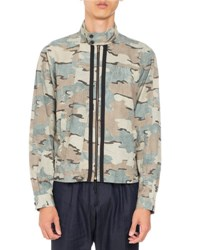 Dries Van Noten Vaspar Camo Zip Front Jacket Green