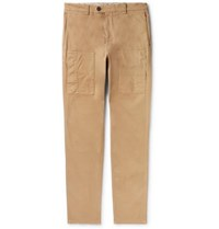 Brunello Cucinelli Slim Fit Garment Dyed Stretch Cotton Cargo Trousers Camel