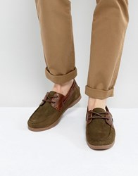 Asos Boat Shoes In Khaki Suede With Gum Sole Khaki Green