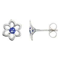 Nina B 9Ct White Gold Sapphire Flower Stud Earrings White Blue
